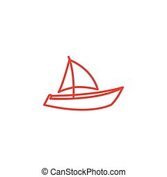 Boat Line Red Icon On White Background. Red Flat Style Vector Illustration.