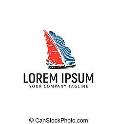 boat logo design concept template