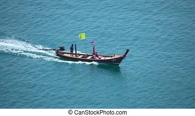 Boat. - Longtail travel boat in open sea. Thailand, Andaman...