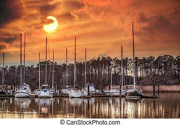 Boat marina on the Chesapeake Bay at sunset