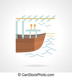 Boat market flat color vector icon