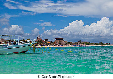 Boat Moored in a Mayan Riviera beach, Mexico