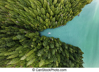 Boat moored in cove with green forests aerial view