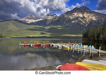 Boat mooring on mountain lake.