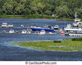 Boat mooring on the Dnieper river. Kiev.
