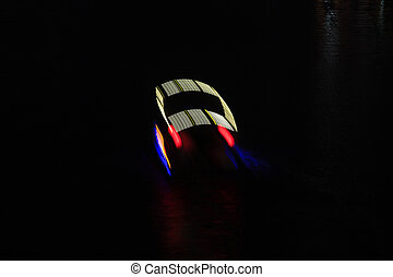 boat movement track, at night on the water