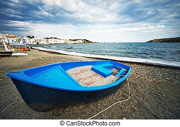 Boat on a beach.