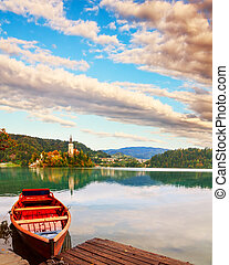 Boat on a Bled lake in summer
