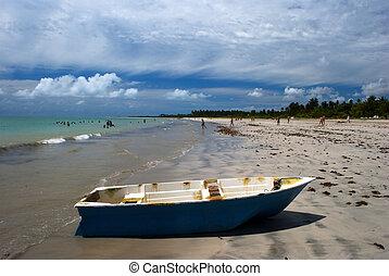 Boat on a crystalline green sea in Maceio, Alagoas, Brazil