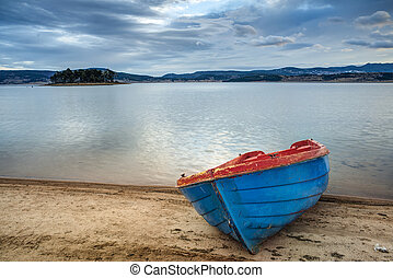 Boat on a lake in the mountains