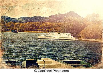 Boat on a lake shore. Lake background, old photo effect.