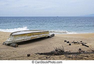 Boat on a sandy coast
