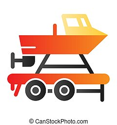 Boat on a trailer flat icon. Boats transportation color icons in trendy flat style. Transportation of a ship gradient style design, designed for web and app. Eps 10.