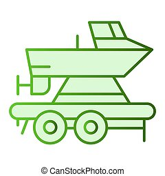 Boat on a trailer flat icon. Boats transportation green icons in trendy flat style. Transportation of a ship gradient style design, designed for web and app. Eps 10.