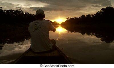 Boat On Amazon in Sunset