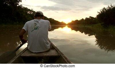 Boat On Amazon in Sunset - Sunset On Amazon River