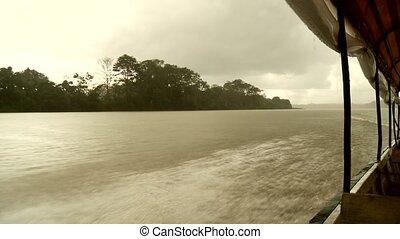 Boat On Amazon River, South America - Amazon River, South...
