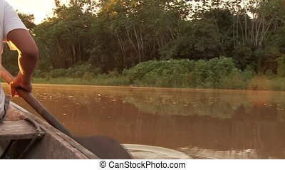 Boat On Amazon - Sunset On Amazon River