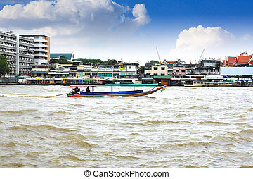 Boat on Chao Phraya river ,Bangkok, Thailand
