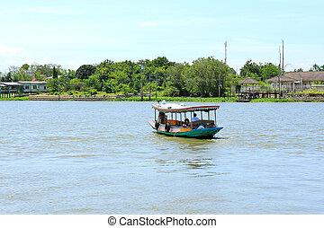 Boat on Chao Phraya river ,Nonthaburi ,Thailand.