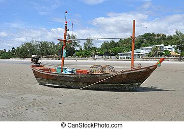 boat on Hua Hin beach, Thailand