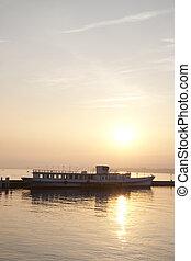 Boat on Lake Geneva at Sunset; Lausanne; Switzerland