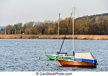 boat on lake, photo as a background