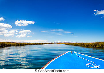 Boat on Lake Titicaca