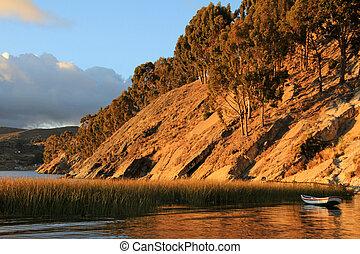 Boat on lake Titicaca, Island of the sun