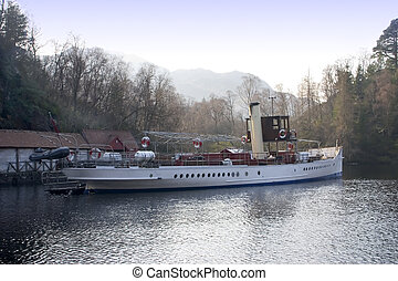 Boat on Loch Katrine - A steamboat at anchor on loch Katrine...