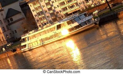 Boat on Main River Frankfurt