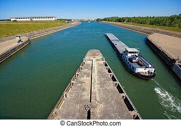 boat on rhine, germany/france