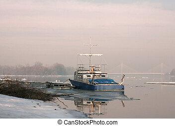 Boat on river in winter