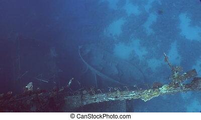 Boat on seabed near Salem Express shipwrecks underwater in...