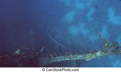 Boat on seabed near Salem Express shipwrecks underwater in...