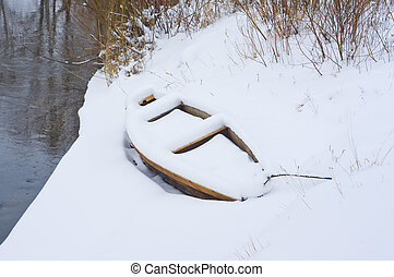 Boat on shore covered with snow