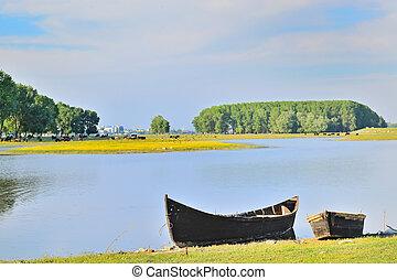 boat on shore of danube river