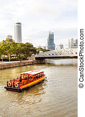 Boat on Singapore River Approaching Anderson Bridge at Boat Quay