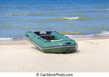Boat on the beach at sea in summer