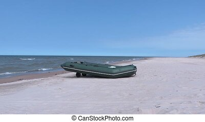 Boat on the beach at sea