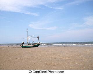 boat on the beach, hua hin,thailand