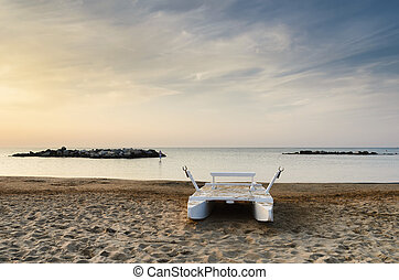 boat on the beach in italy