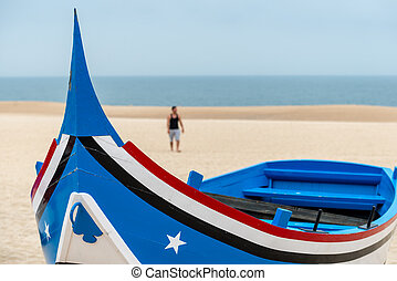 Boat on the beach, Nazare (Portugal)