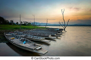 Boat on the lake, morning from Thai
