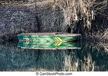 boat on the lake, photo as a background