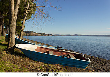 boat on the lake shore