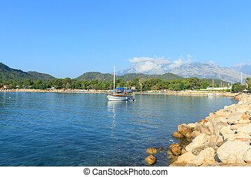 Boat on the Mediterranean Sea in Kemer