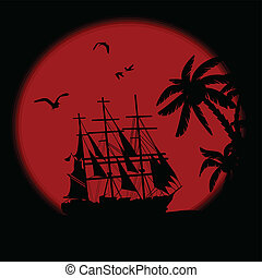 Boat on the ocean in front of full moon