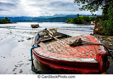 Boat on the river bank