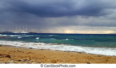Boat on the sea and cloudy sky